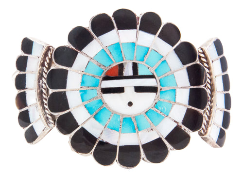 Zuni Native American Turquoise Coral Inlay Sunface Bracelet by Massie SKU232723