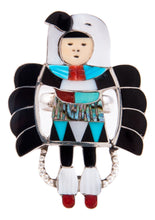Load image into Gallery viewer, Zuni Native American Turquoise Inlay Eagle Dancer Ring Size 8 3/4 by Beyuka SKU232747