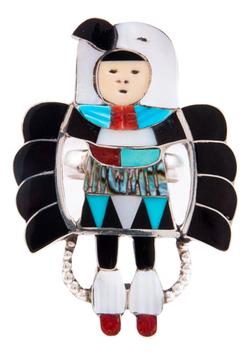 Zuni Native American Turquoise Inlay Eagle Dancer Ring Size 8 3/4 by Beyuka SKU232747