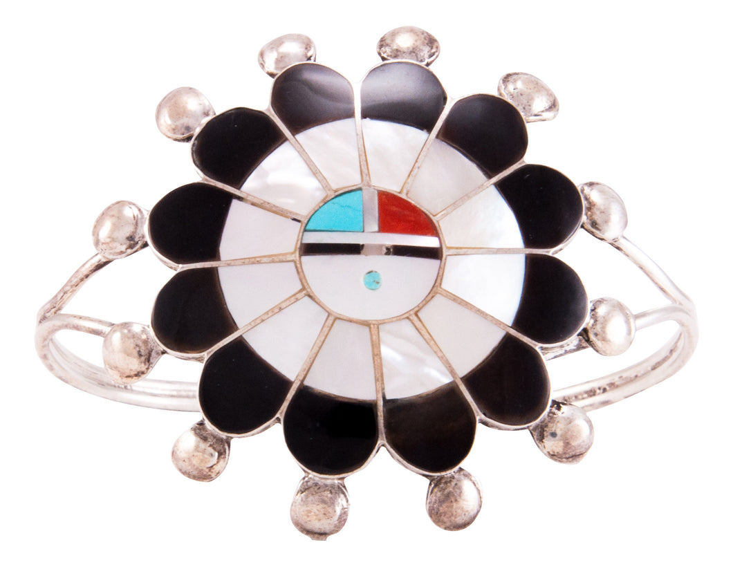 Zuni Native American Jet and Shell Inlay Sunface Bracelet by Lonjose SKU232795