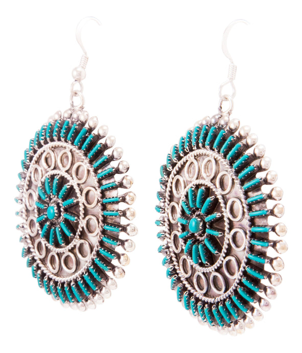 Zuni Native American Needlepoint Turquoise Earrings by Philander Gia SKU232802