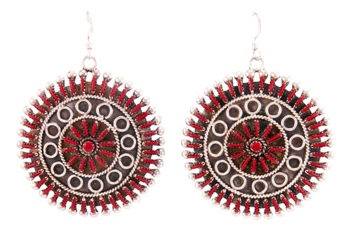 Zuni Native American Needlepoint Red Coral Earrings by Philander Gia SKU232807