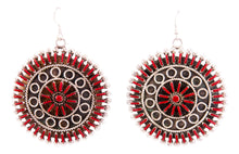 Load image into Gallery viewer, Zuni Native American Needlepoint Red Coral Earrings by Philander Gia SKU232808