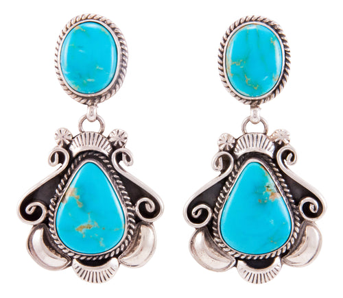 Navajo Native American Kingman Turquoise Earrings by Robert Shakey SKU232813