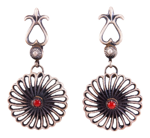 Navajo Native American Red Coral Earrings by Kevin Billah SKU232814