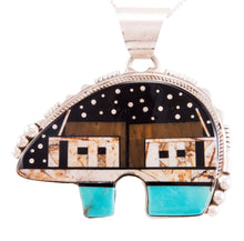 Load image into Gallery viewer, Navajo Native American Turquoise Jet Inlay Bear Pendant Necklace by Ray Jack SKU232822