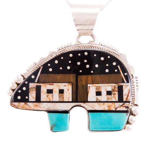Navajo Native American Turquoise Jet Inlay Bear Pendant Necklace by Ray Jack SKU232822