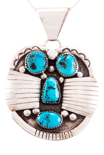 Navajo Native American Kingman Turquoise Pendant by Etcitty SKU232835
