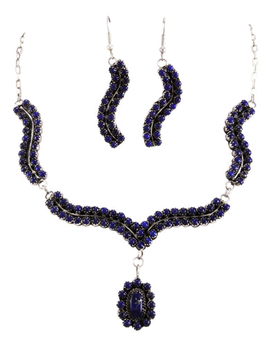 Navajo Native American Lapis Earrings and Necklace set by Livings SKU232836