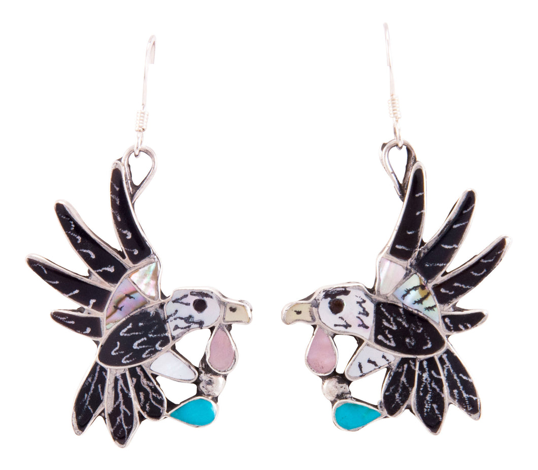 Zuni Native American Turquoise Inlay Hummingbird Earrings by Leekity SKU232840