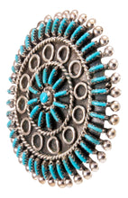 Load image into Gallery viewer, Zuni Native American Needlepoint Turquoise Pin Pendant by Gia SKU232846