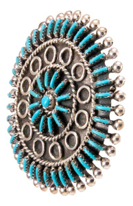 Zuni Native American Needlepoint Turquoise Pin Pendant by Gia SKU232846