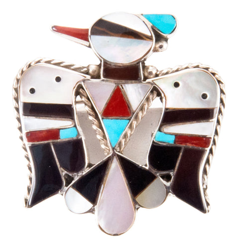 Zuni Native American Turquoise Inlay Thunderbird Pin Pendant by Shack SKU232847