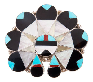 Zuni Native American Turquoise Inlay Sunface Pin Pendant by Dishta SKU232848