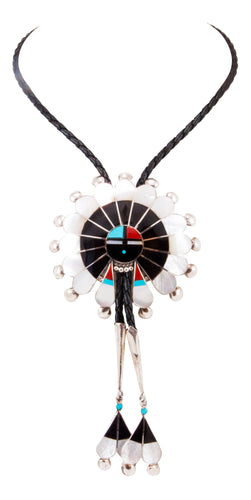 Zuni Native American Turquoise Inlay Sunface Bolo Tie by Lonjose SKU232852