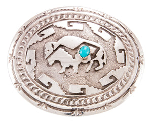Navajo Native American Turquoise and Buffalo Belt Buckle by Kinsel SKU232853
