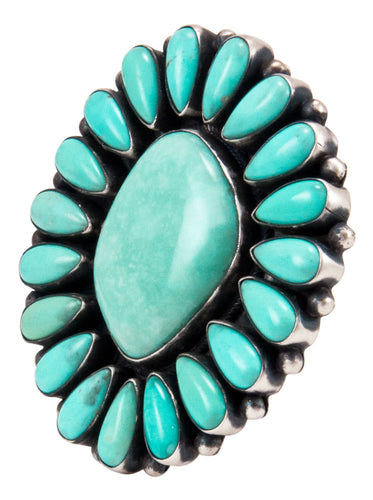 Navajo Native American Sonora Turquoise Cluster Ring Size 8 3/4 SKU232862