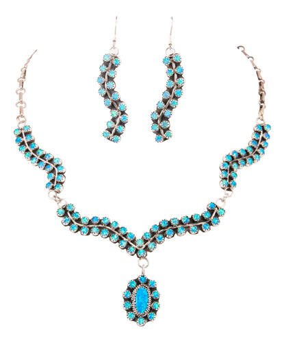 Navajo Native American Lab Opal Necklace and Earrings set by Livings SKU232868