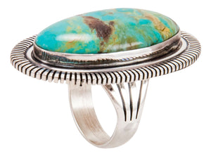 Navajo Native American Lone Mountain Turquoise Ring Size 9 by McReeves