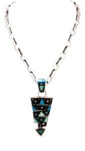 Navajo Native American Onyx and Lap Opal Pendant by House with Sterling Chain by Lee SKU232915