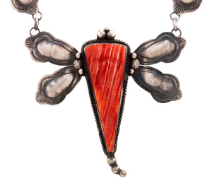 Navajo Native American Spiny Oyster Shell Dragongly Necklace by Lee SKU232930