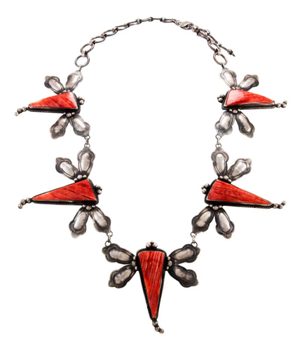 Navajo Native American Spiny Oyster Shell Dragongly Necklace by Lee