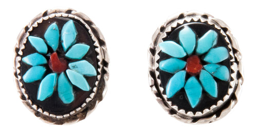 Zuni Native American Turquoise Flower Earrings by Rose Calavaza SKU232932