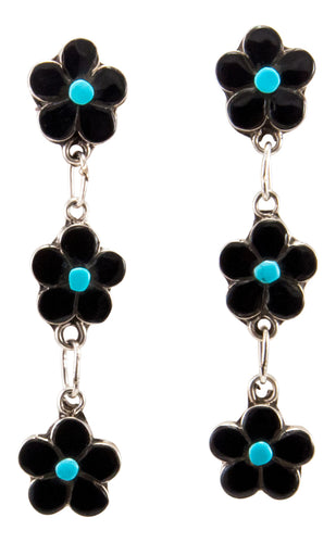 Zuni Native American Turquoise and Jet Flower Earrings by Lowsayate SKU232933