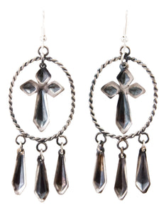 Navajo Native American Silver Repousse Earrings by Yazzie SKU232940
