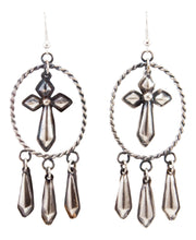Load image into Gallery viewer, Navajo Native American Silver Repousse Earrings by Yazzie SKU232940