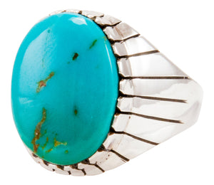 Navajo Native American Kingman Turquoise Ring Size 13 by Ray Jack SKU232954