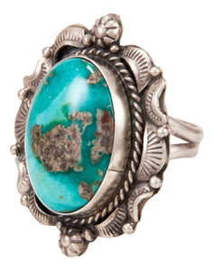 Navajo Native American Candelaria Turquoise Ring Size 10 by B Lee SKU232962