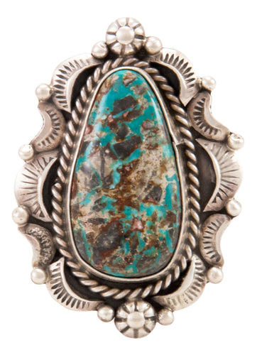 Navajo Native American Candelaria Turquoise Ring Size 10 by B Lee SKU232963