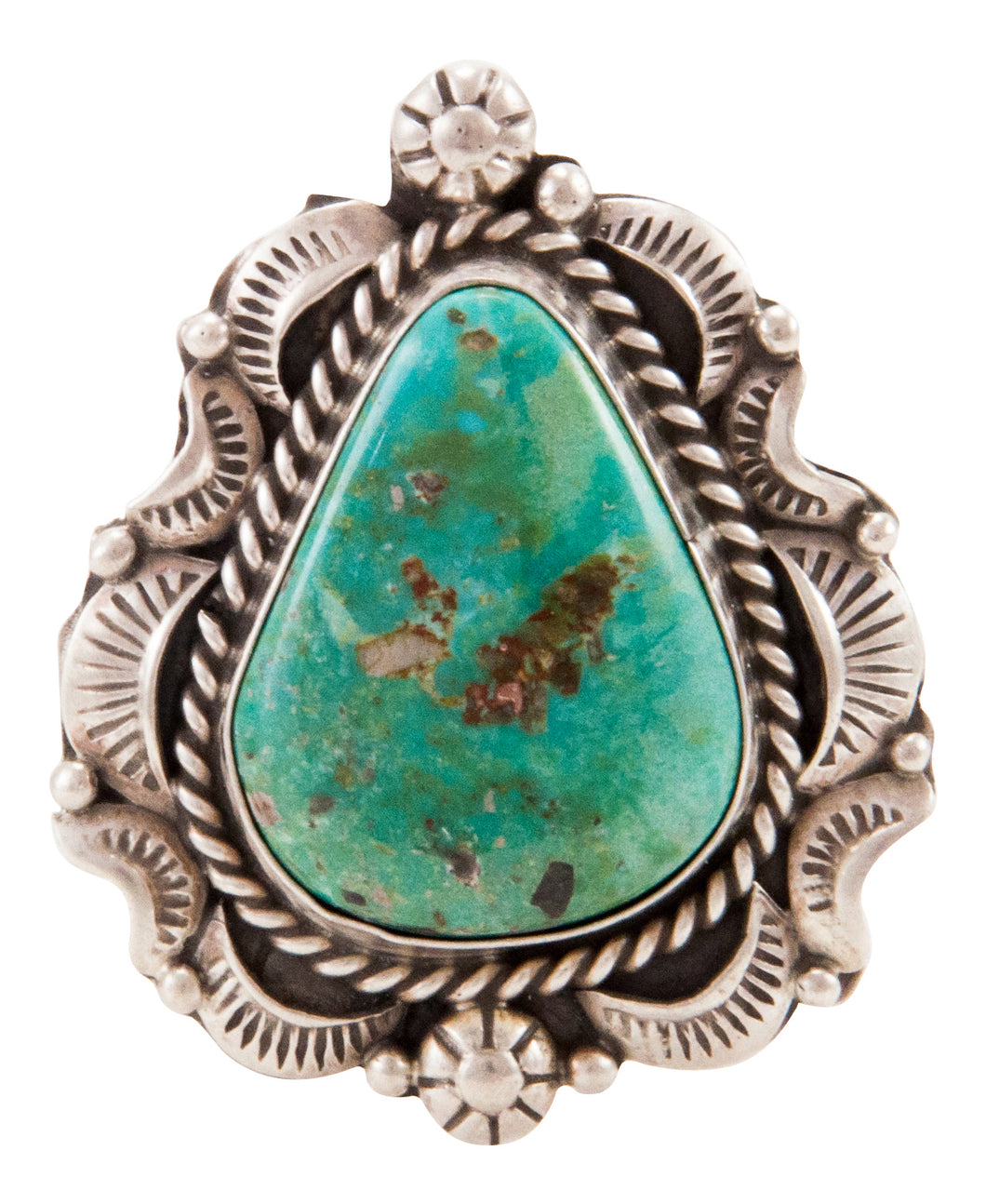 Navajo Native American Candelaria Turquoise Ring Size 9 by B Lee SKU232964