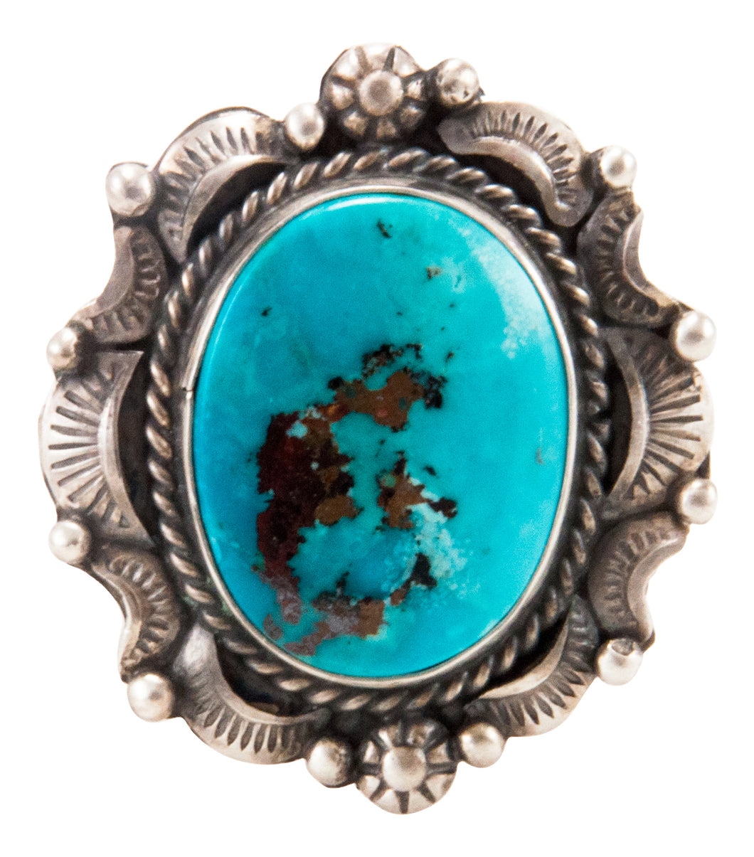 Navajo Native American Kingman Turquoise Ring Size 9 3/4 by B Lee SKU232965