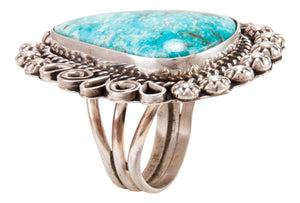 Navajo Native American Candelaria Turquoise Ring Size 9 1/2 by Lee SKU232967