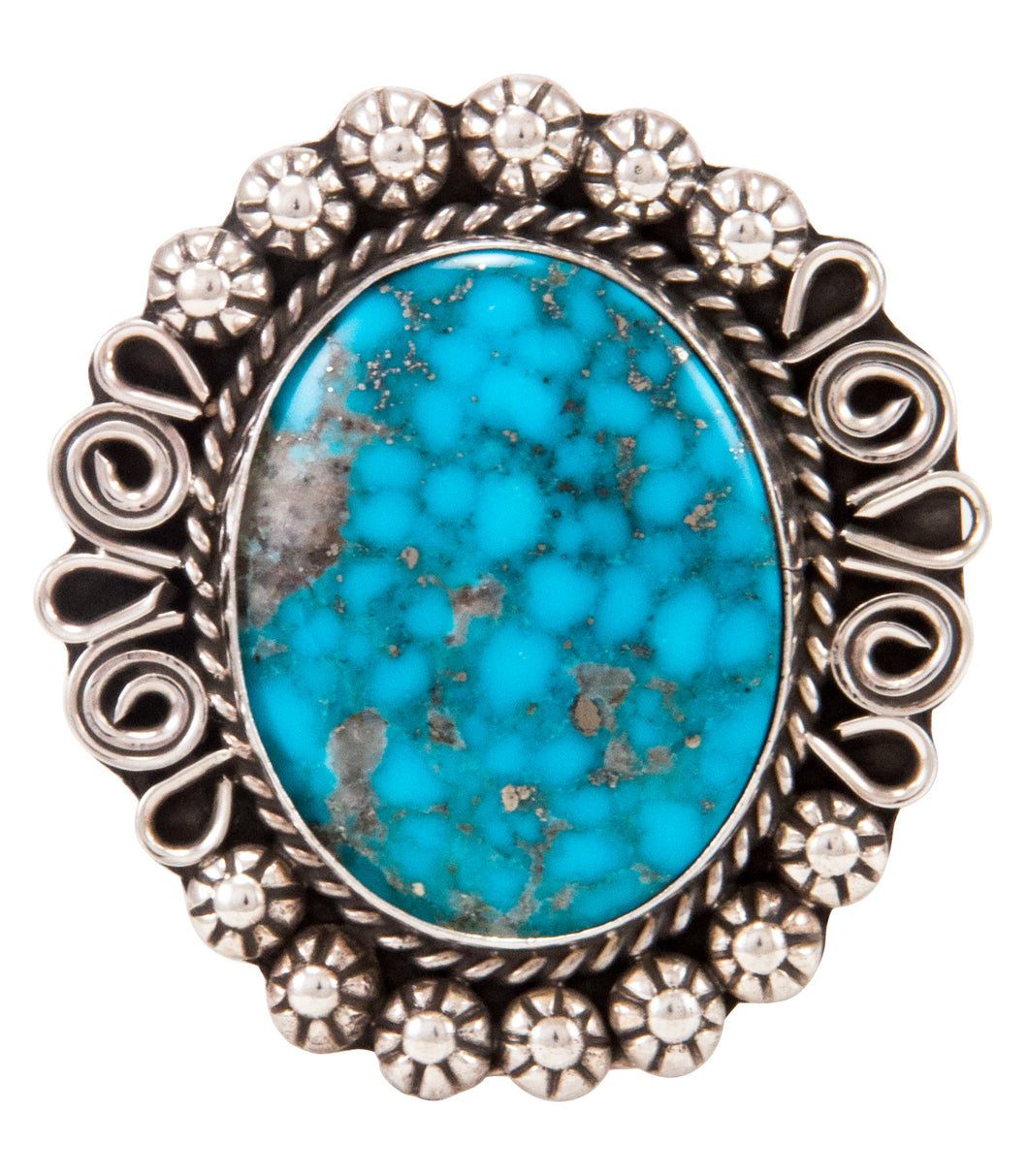 Navajo Native American Kingman Turquoise Ring Size 9 1/2 by B Lee SKU232968
