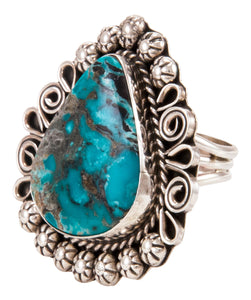Navajo Native American Kingman Turquoise Ring Size 9 1/2 by B Lee SKU232969