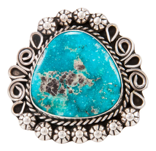 Navajo Native American Blue Ridge Turquoise Ring Size 8 3/4 by B Lee SKU232970