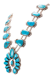 Navajo Native American Kingman Turquoise Squash Blossom Necklace SKU232975