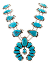 Load image into Gallery viewer, Navajo Native American Kingman Turquoise Squash Blossom Necklace SKU232975