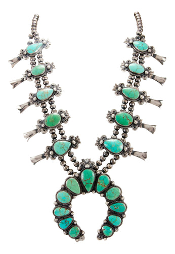 Navajo Native American Mine Number 8 Turquoise Squash Blossom Necklace SKU232976