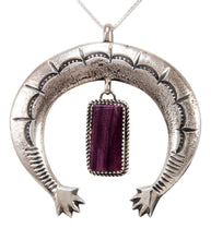 Load image into Gallery viewer, Navajo Native American Purple Shell Naja Pendant Necklace by Cayatineto SKU232979