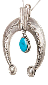 Navajo Native American Turquoise Naja Pendant Necklace by Cayatineto SKU232980