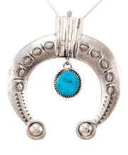Load image into Gallery viewer, Navajo Native American Turquoise Naja Pendant Necklace by Cayatineto SKU232980