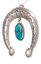 Load image into Gallery viewer, Navajo Native American Turquoise Naja Pendant Necklace by Cayatineto SKU232981