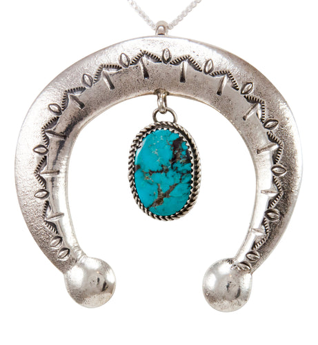 Navajo Native American Turquoise Naja Pendant Necklace by Cayatineto SKU232981