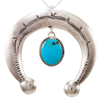Load image into Gallery viewer, Navajo Native American Turquoise Naja Pendant Necklace by Cayatineto SKU232982