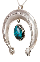 Load image into Gallery viewer, Navajo Native American Turquoise Naja Pendant Necklace by Cayatineto SKU232983