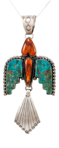 Navajo Native American Turquoise Thunderbird Pendant Necklace by Willeto SKU232985